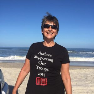 Marianne-Sciucco-wearing-Authors-Supporting-Our-Troops-T-shirt-at-Assateague-Island